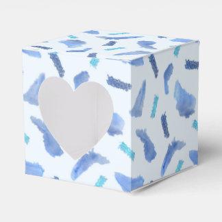 Blue Watercolor Spots Heart Favor Box