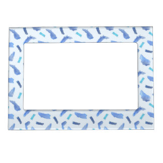 Blue Watercolor Spots Magnetic Frame