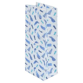Blue Watercolor Spots Matte Wine Bag