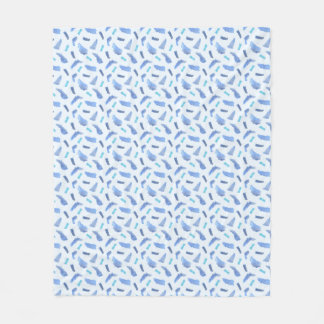 Blue Watercolor Spots Medium Fleece Blanket