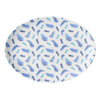 Blue Watercolor Spots Porcelain Coupe Platter Porcelain Serving Platter