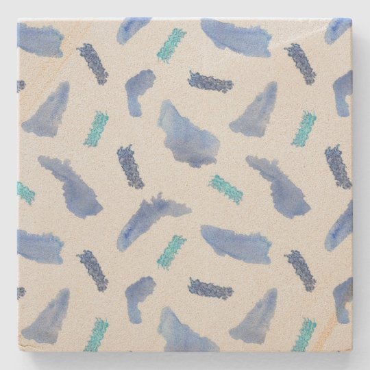 Blue Watercolor Spots Sandstone Coaster