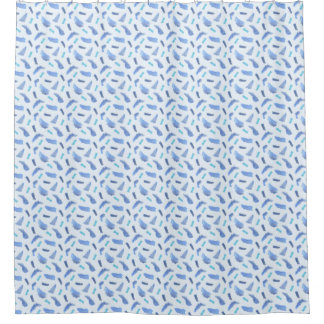 Blue Watercolor Spots Shower Curtain