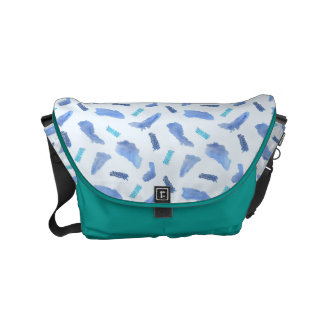 Blue Watercolor Spots Small Messenger Bag