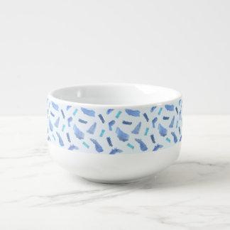 Blue Watercolor Spots Soup Mug