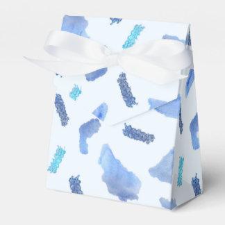 Blue Watercolor Spots Tent Favor Box