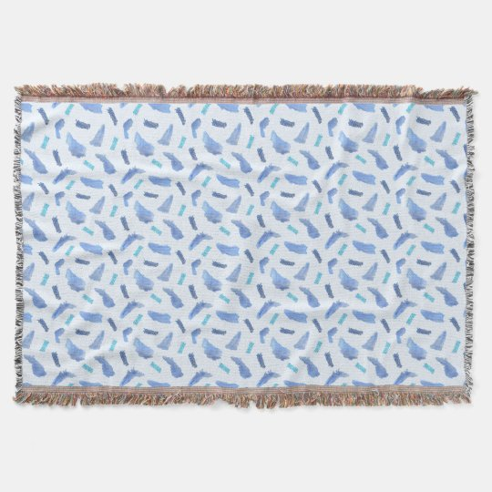 Blue Watercolor Spots Throw Blanket