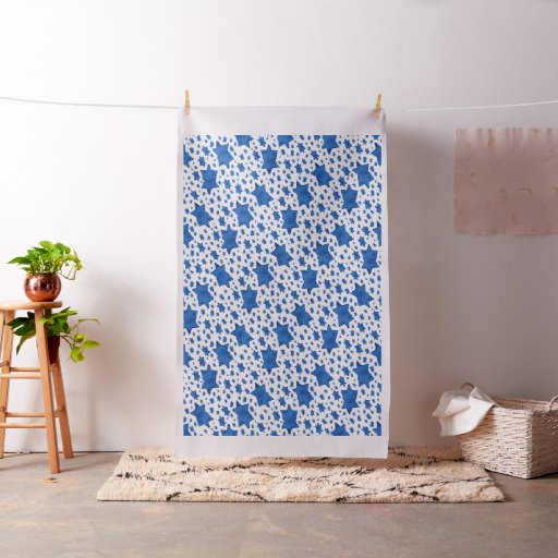 Blue Watercolor Star of David Fabric