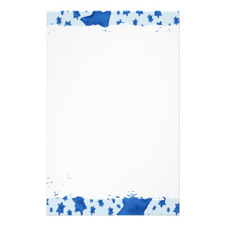 Blue Watercolor Star of David Stationery