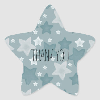 Blue Watercolor Stars thank you Star Sticker