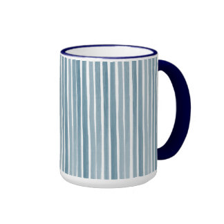 Blue Watercolor Stripes Coffee Mugs