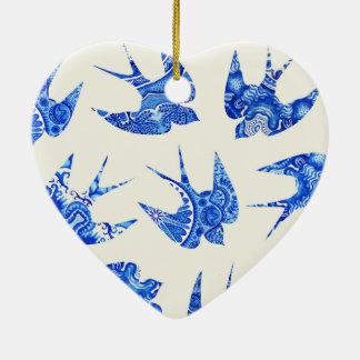 Blue Watercolor Swallow Bird Pattern Christmas Ornament