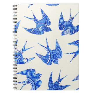 Blue Watercolor Swallow Bird Pattern Spiral Notebook