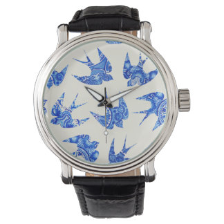Blue Watercolor Swallow Bird Pattern Watch