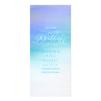 Blue Watercolor Swash Modern Wedding Programs Custom Rack Cards