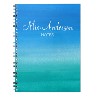 Blue Watercolor Teal Personalized Marine Spiral Notebook