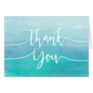 Blue Watercolor Thank You Card   Ombre Watercolor