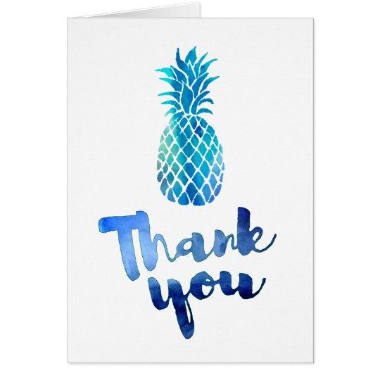 blue watercolor thank you script pineapple card