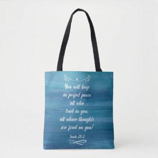 Blue Watercolor totebag with Isaiah 26:3 Tote Bag