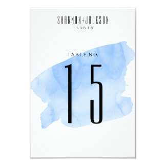 Blue Watercolor Wash Wedding Table Numbers Card