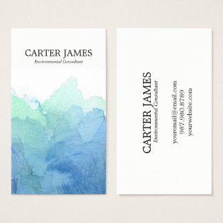 Blue Watercolor Waves Business Card