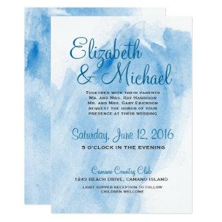 Blue Watercolor Wedding Card