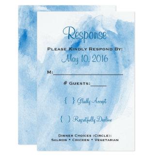 Blue Watercolor Wedding Invitaion RSVP Card