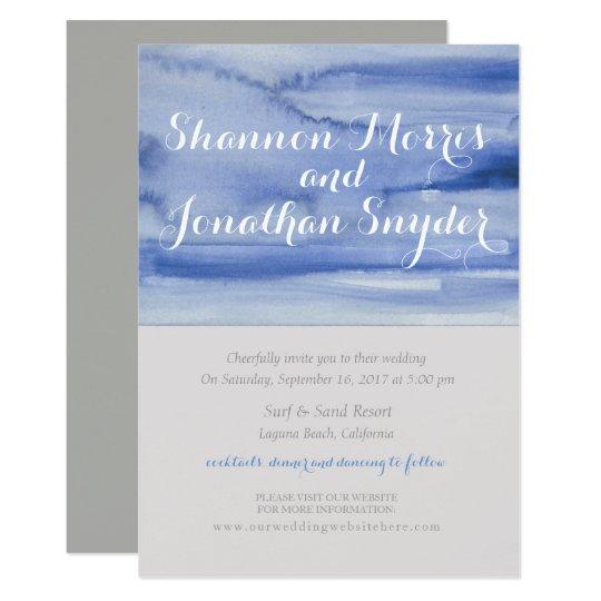 Blue Watercolor Wedding Invitation Calligraphy
