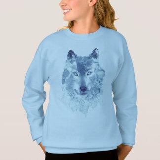 Blue Watercolor Wolf Sweatshirt