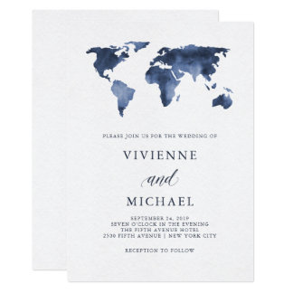 Blue Watercolor World Map on White | Wedding Card