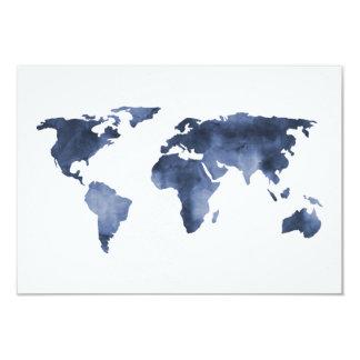 Blue Watercolor | World Map Wedding RSVP Card