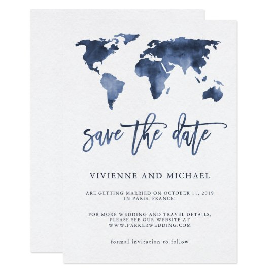 Blue Watercolor World Map | Wedding Save the