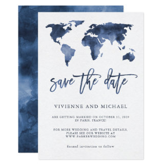 Blue Watercolor World Map | Wedding Save the Date Card