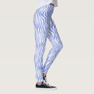 Blue Watercolor Zebra Pattern Leggings