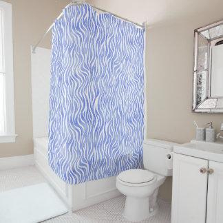 Blue Watercolor Zebra Pattern Shower Curtain