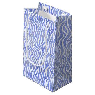 Blue Watercolor Zebra Print Small Gift Bag