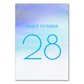 Blue Watercolors Modern Elegant Table Number Cards