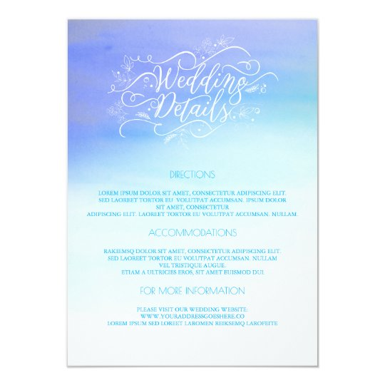 Blue Watercolors Wedding Details - Information Card