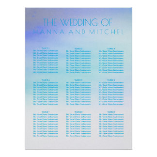 Blue Watercolors Wedding Seating Chart