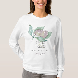 BLUE WATERCOLOU FOLIAGE OLIVE BRIDE TOGETHER SINCE T-Shirt