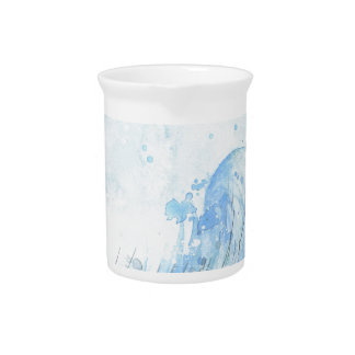 Blue Watercolour Feather Beverage Pitchers