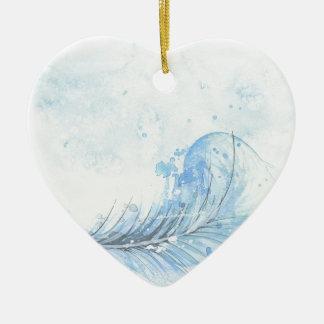 Blue Watercolour Feather Ceramic Heart Decoration