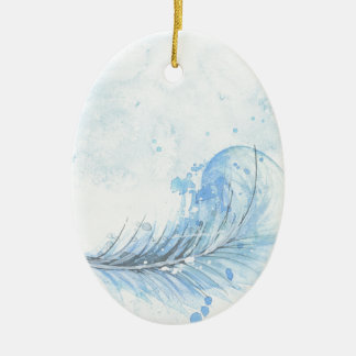 Blue Watercolour Feather Christmas Ornament