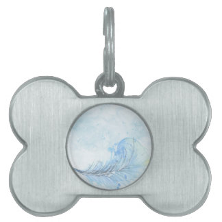Blue Watercolour Feather Pet ID Tag