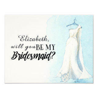 "Blue Watercolour Gown  ""Will you be my bridesmaid"" Card"