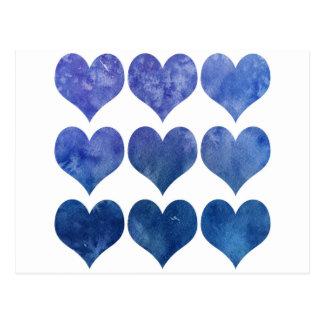 Blue Watercolour Love Heart Postcard