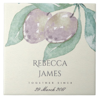 BLUE WATERCOLOUR OLIVE SAVE THE DATE WEDDING GIFT TILE
