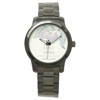 BLUE WATERCOLOUR OLIVE SAVE THE DATE WEDDING GIFT WATCH