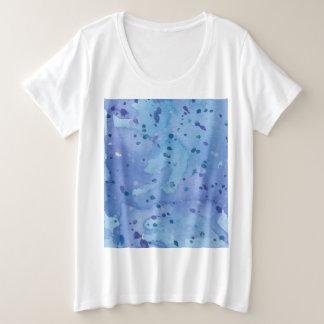 Blue Watercolour Splat Plus Size T-Shirt