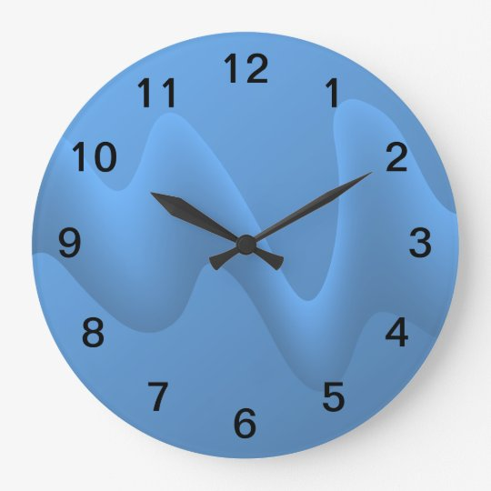 Blue Wave Abstract Image Design. Large Clock